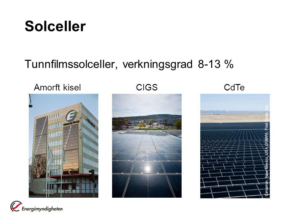 Solceller Tunnfilmssolceller, verkningsgrad 8-13 % Amorft kisel CIGS