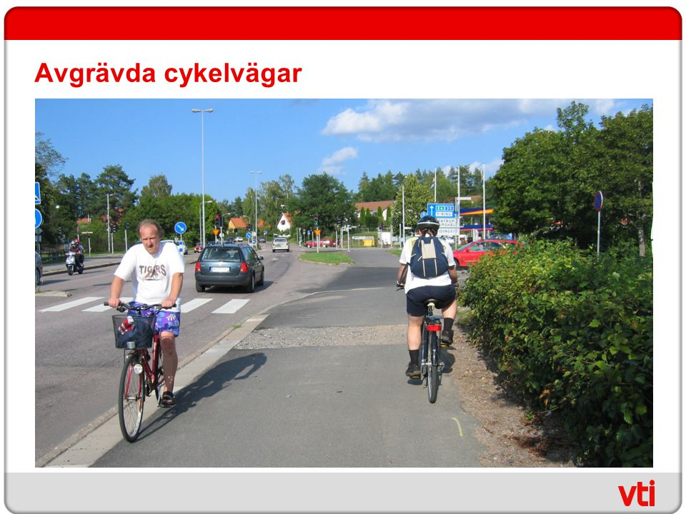 Avgrävda cykelvägar