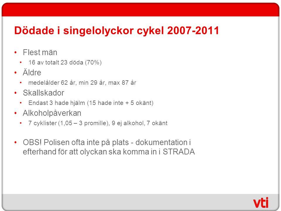 Dödade i singelolyckor cykel 2007-2011