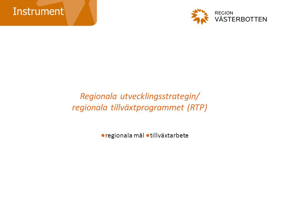 Regionala utvecklingsstrategin/ regionala tillväxtprogrammet (RTP)