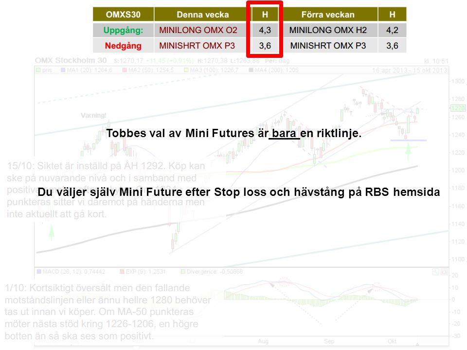 Tobbes val av Mini Futures är bara en riktlinje.