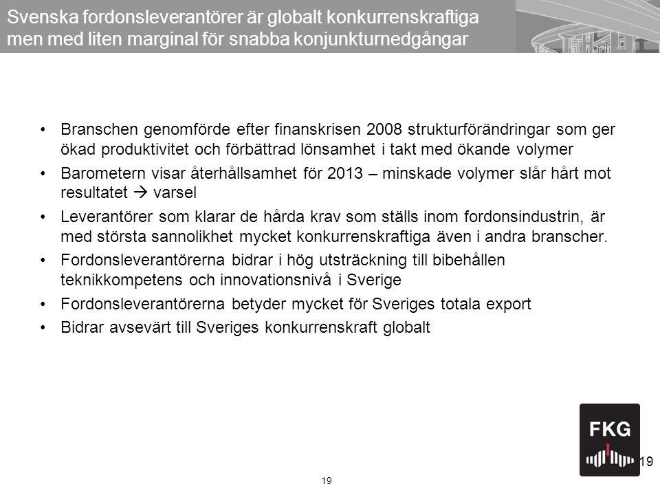 Svenska fordonsleverantörer är globalt konkurrenskraftiga men med liten marginal för snabba konjunkturnedgångar