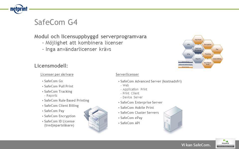 SafeCom G4 Modul och licensuppbyggd serverprogramvara - Möjlighet att kombinera licenser - Inga användarlicenser krävs.