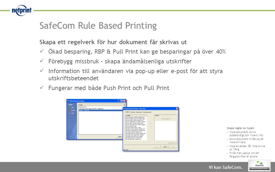 SafeCom Rule Based Printing