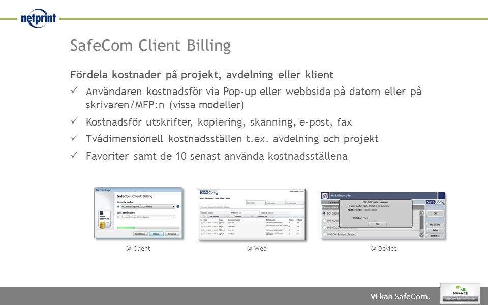 SafeCom Client Billing
