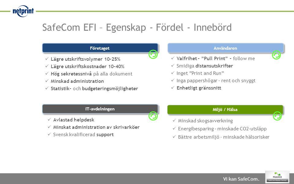 SafeCom EFI – Egenskap - Fördel - Innebörd