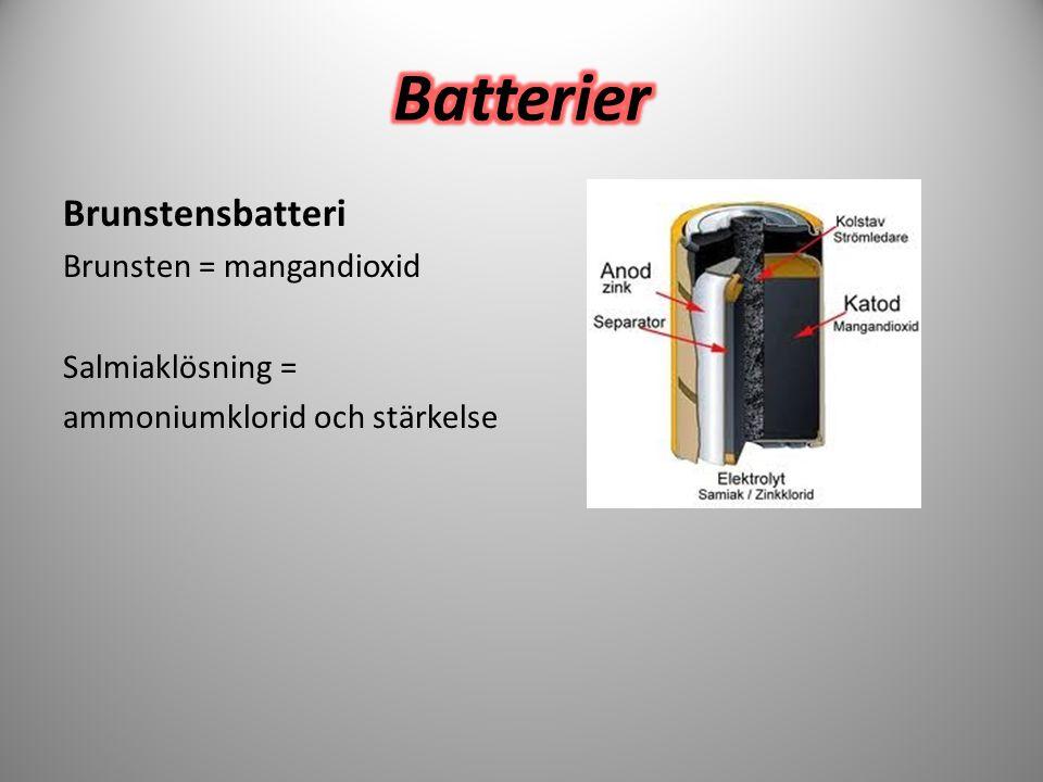 Batterier Brunstensbatteri Brunsten = mangandioxid Salmiaklösning =