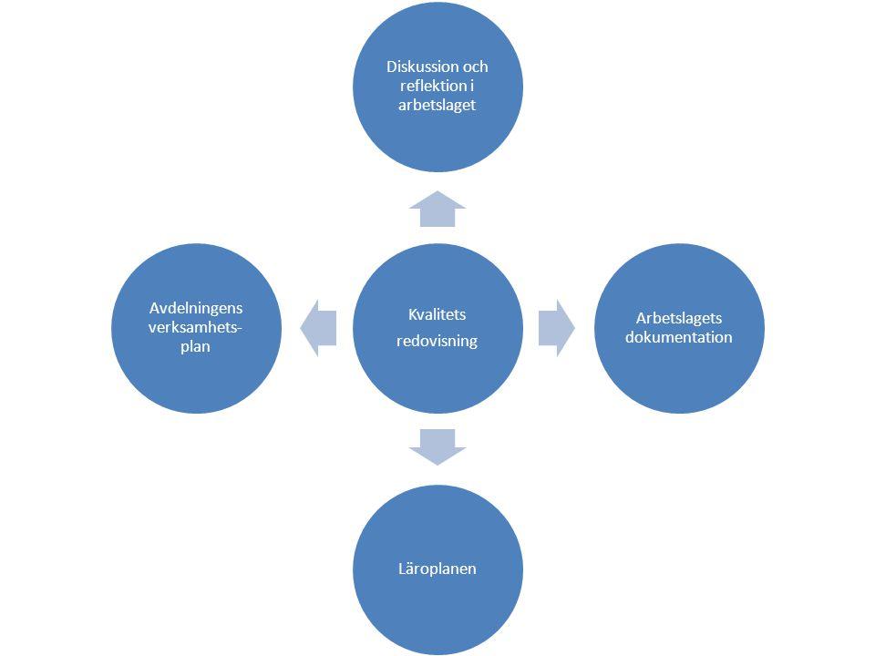 Diskussion och reflektion i arbetslaget Arbetslagets dokumentation