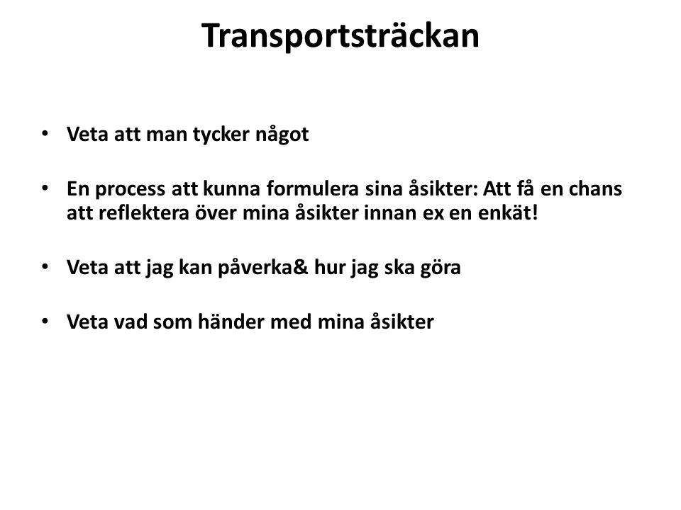 Transportsträckan Veta att man tycker något