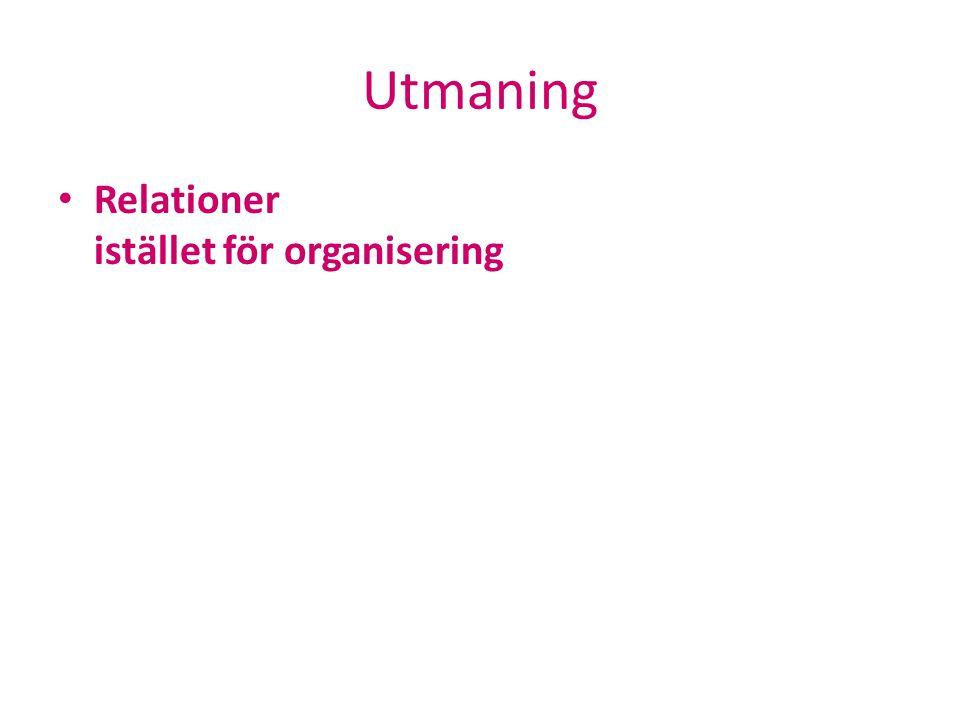 Utmaning Relationer istället för organisering