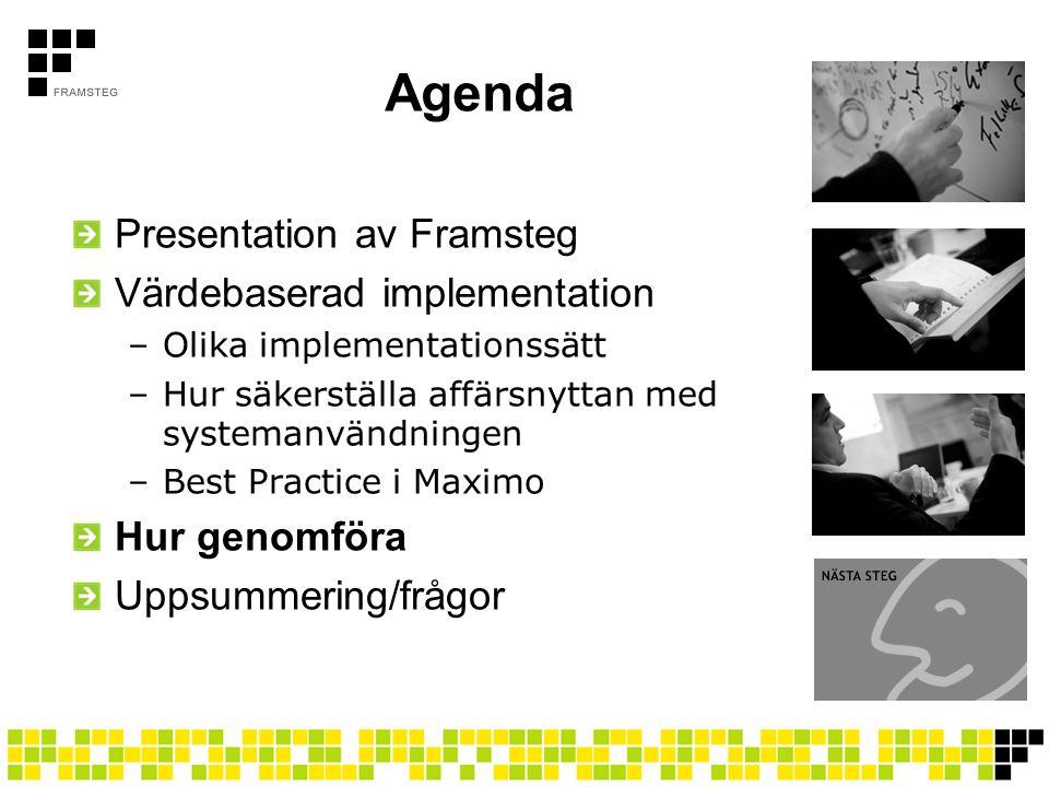 Agenda Presentation av Framsteg Värdebaserad implementation