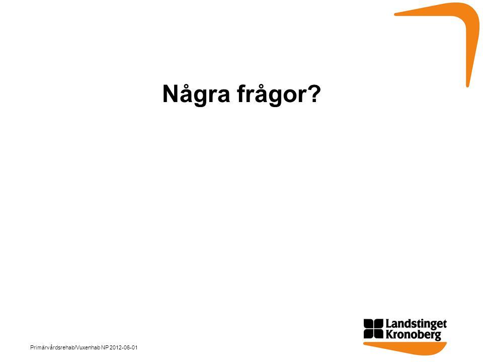 Några frågor Primärvårdsrehab/Vuxenhab NP 2012-06-01