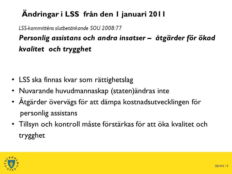 Ändringar i LSS från den 1 januari 2011