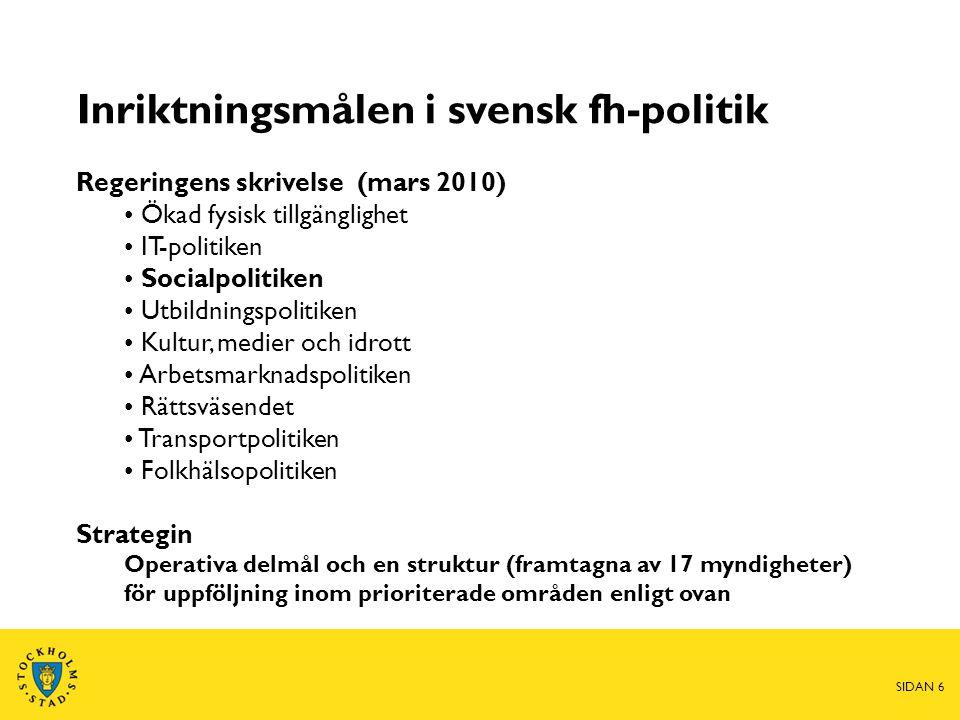 Inriktningsmålen i svensk fh-politik