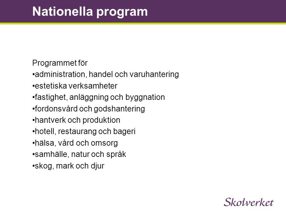 Nationella program Programmet för