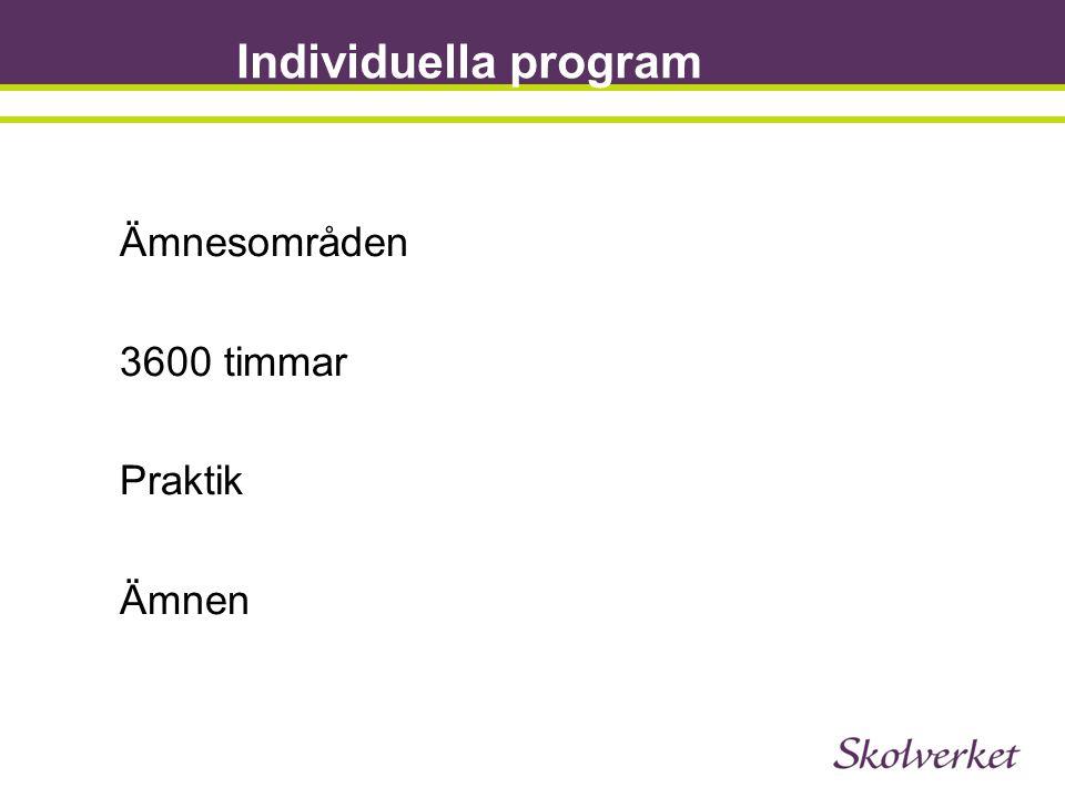 Individuella program Ämnesområden 3600 timmar Praktik Ämnen