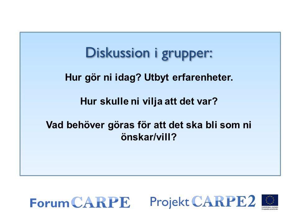 Diskussion i grupper: Projekt Hur gör ni idag Utbyt erfarenheter.