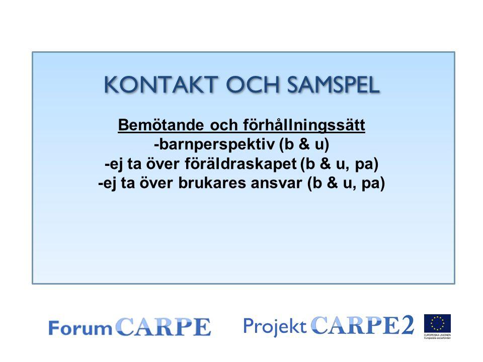 KONTAKT OCH SAMSPEL Projekt Bemötande och förhållningssätt