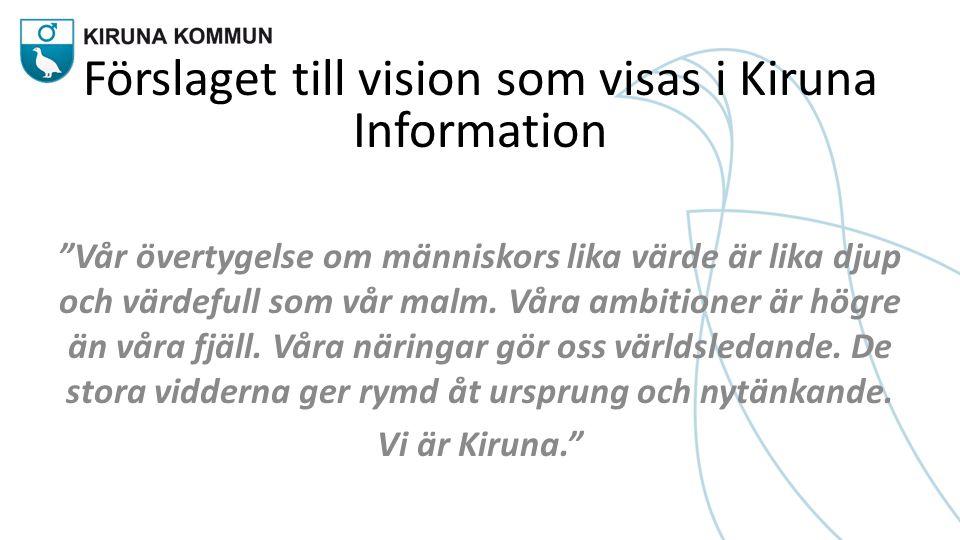 Förslaget till vision som visas i Kiruna Information