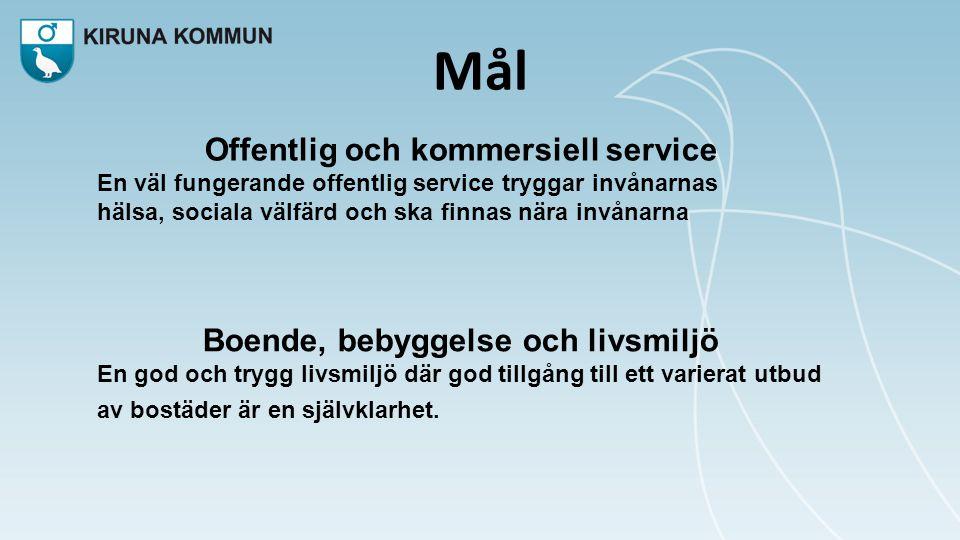 Offentlig och kommersiell service Boende, bebyggelse och livsmiljö