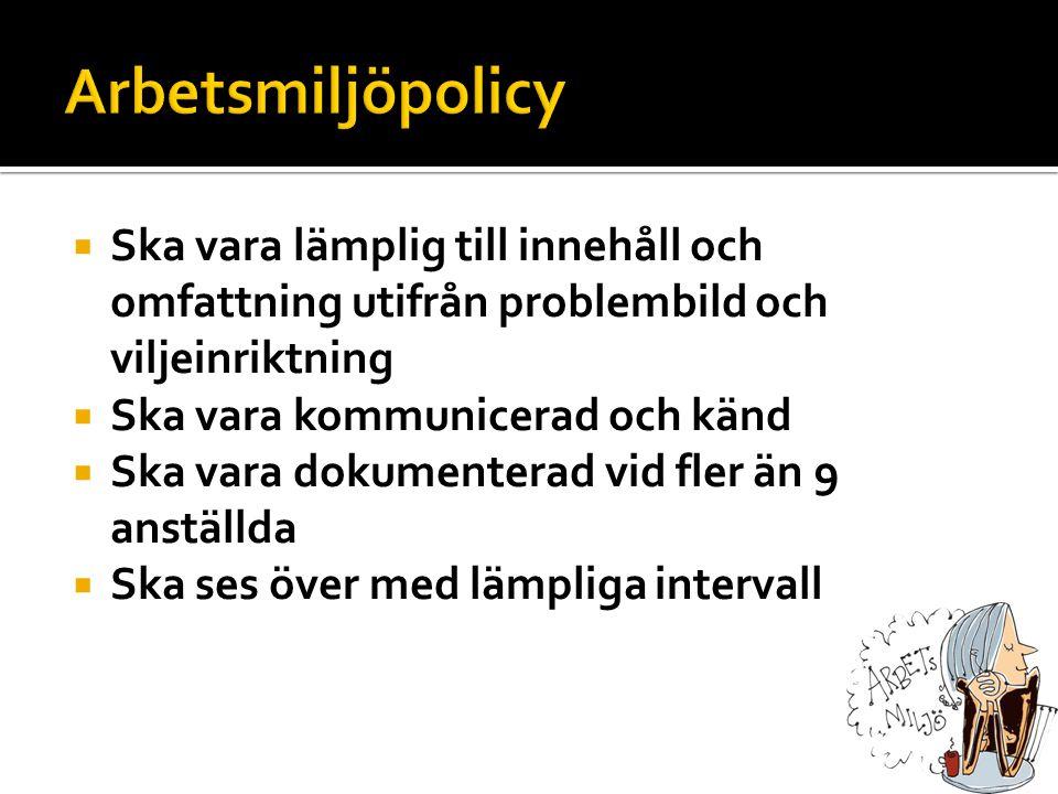 Arbetsmiljöpolicy Ska vara lämplig till innehåll och omfattning utifrån problembild och viljeinriktning.