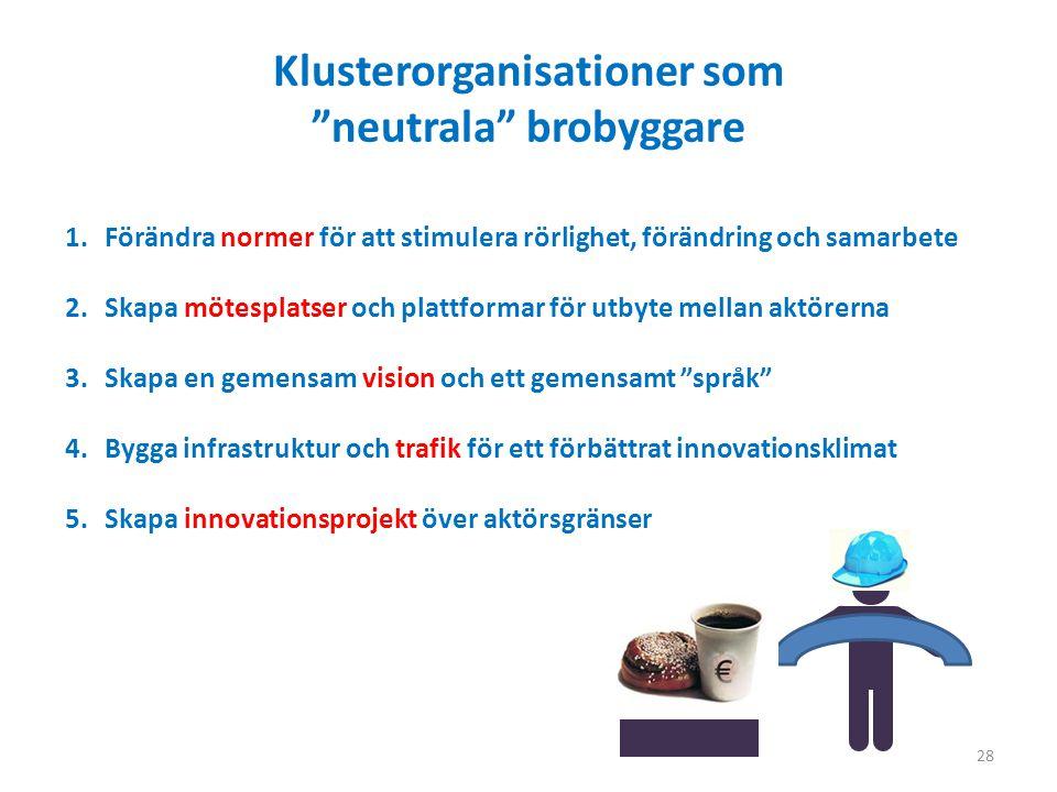 Klusterorganisationer som neutrala brobyggare