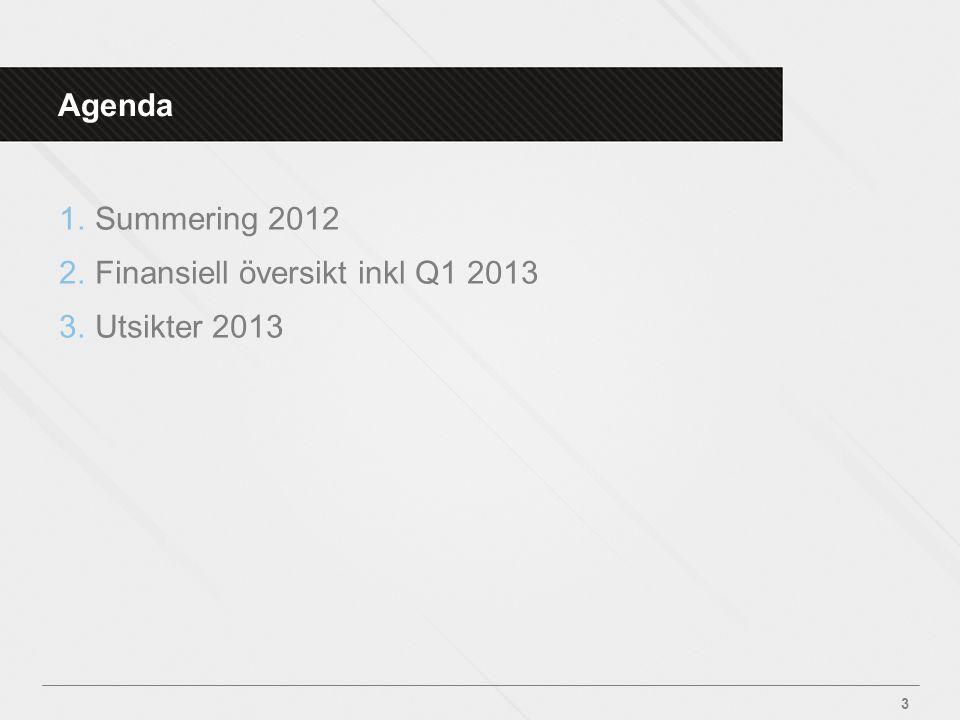 Agenda Summering 2012 Finansiell översikt inkl Q1 2013 Utsikter 2013