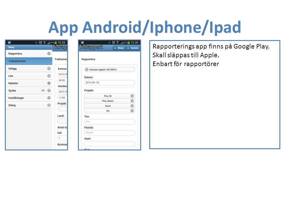 App Android/Iphone/Ipad