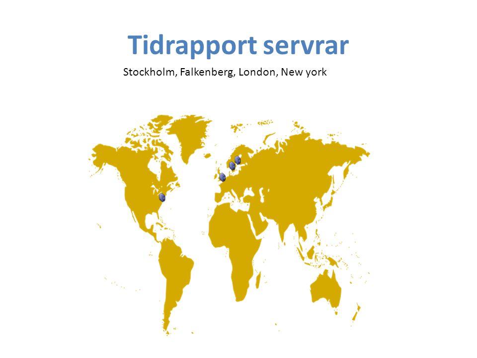 Tidrapport servrar Stockholm, Falkenberg, London, New york