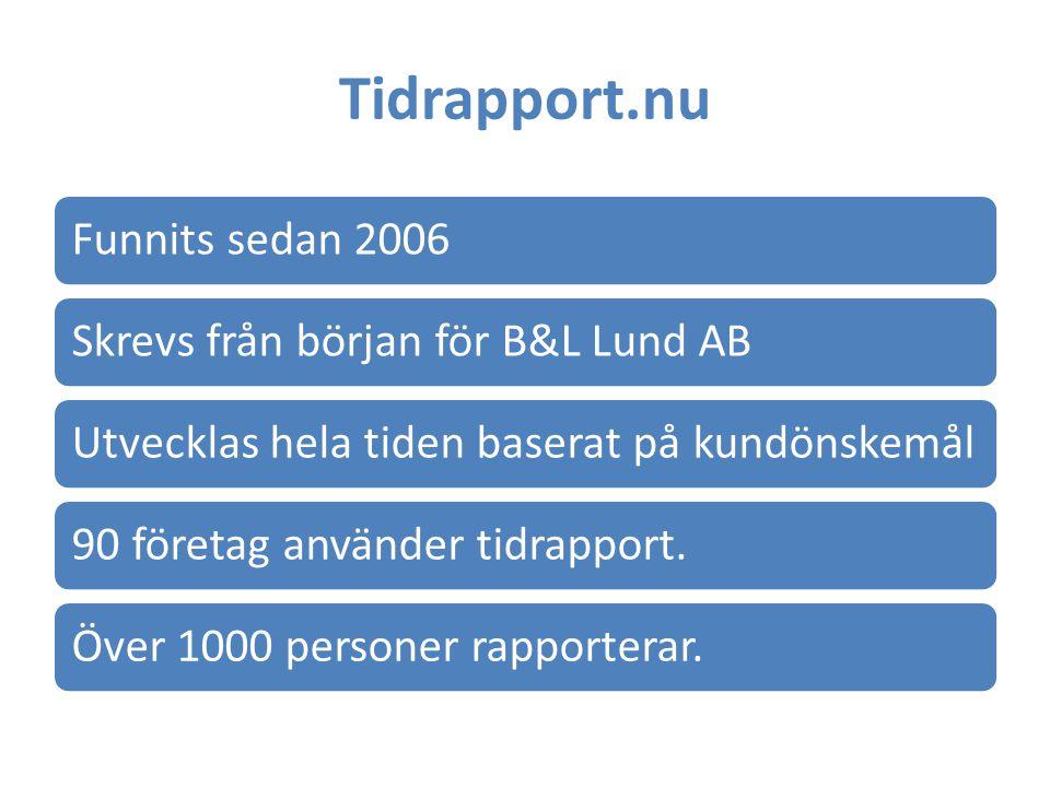 Tidrapport.nu Funnits sedan 2006 Skrevs från början för B&L Lund AB