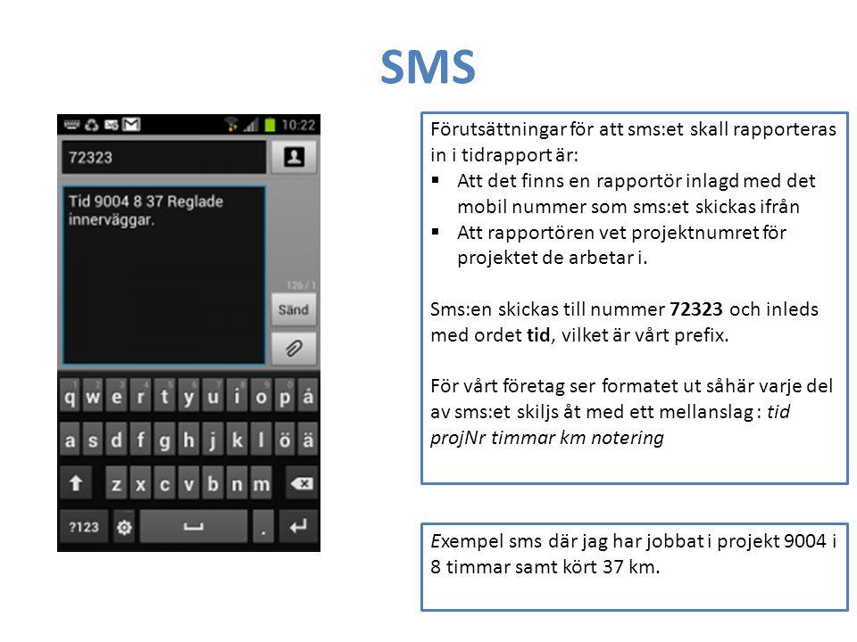 SMS Förutsättningar för att sms:et skall rapporteras in i tidrapport är: