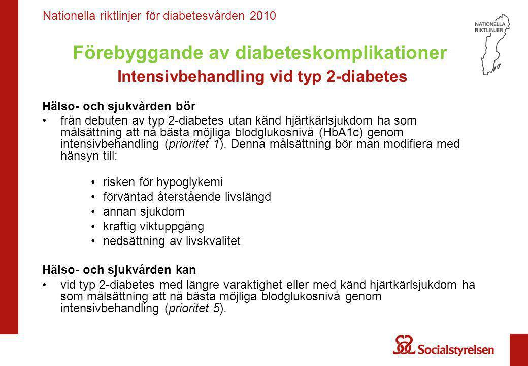 Förebyggande av diabeteskomplikationer Intensivbehandling vid typ 2-diabetes