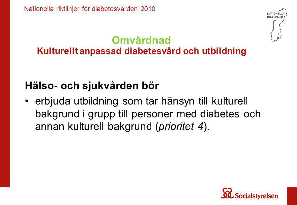 Omvårdnad Kulturellt anpassad diabetesvård och utbildning