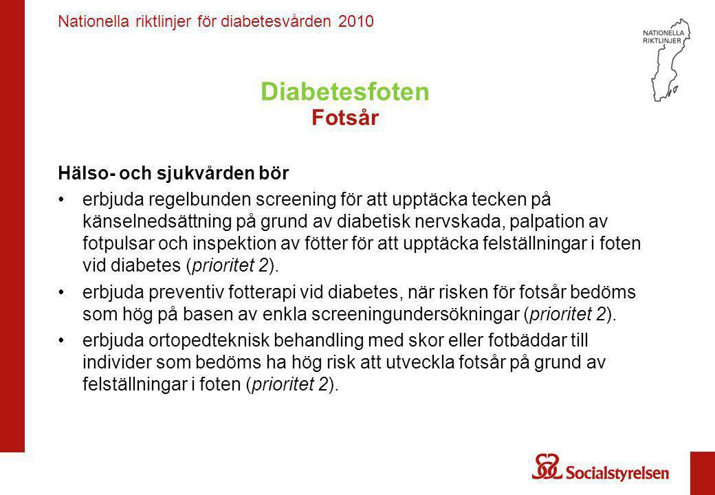 Diabetesfoten Fotsår Hälso- och sjukvården bör