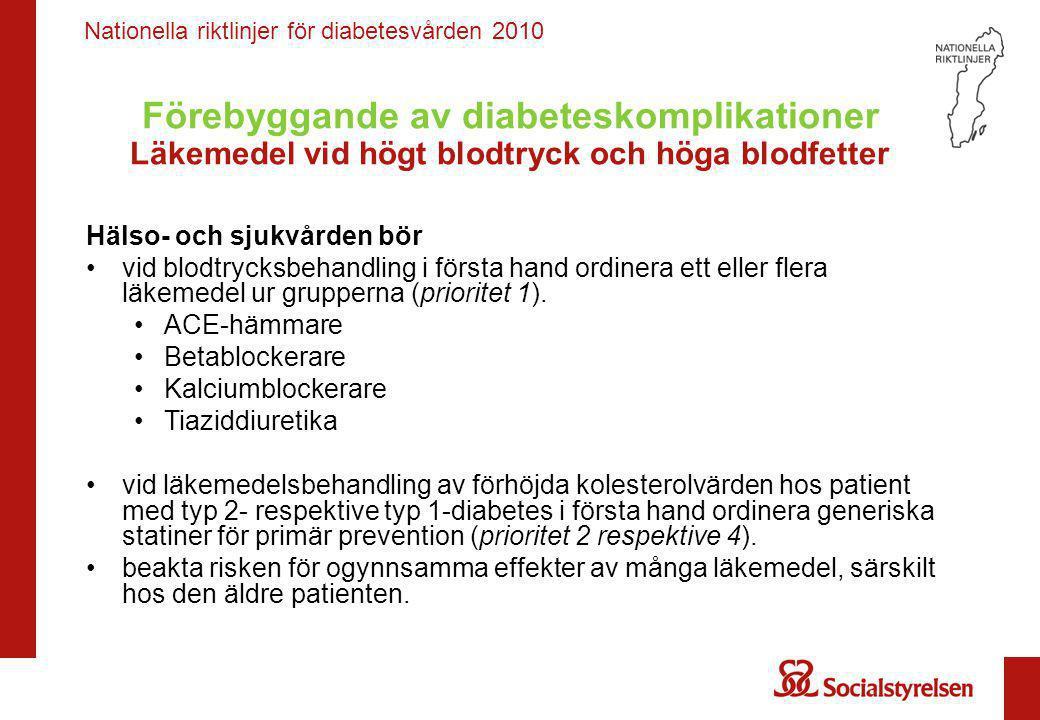 Förebyggande av diabeteskomplikationer Läkemedel vid högt blodtryck och höga blodfetter