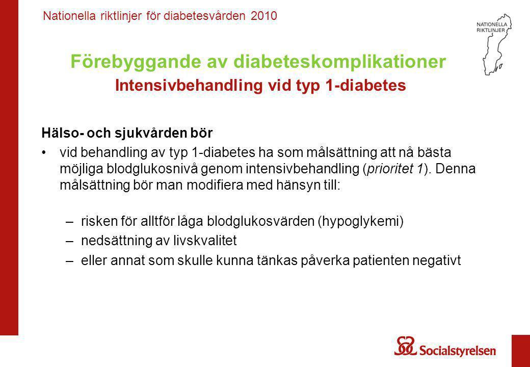 Förebyggande av diabeteskomplikationer Intensivbehandling vid typ 1-diabetes