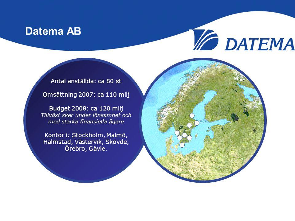 Datema AB Antal anställda: ca 80 st Omsättning 2007: ca 110 milj