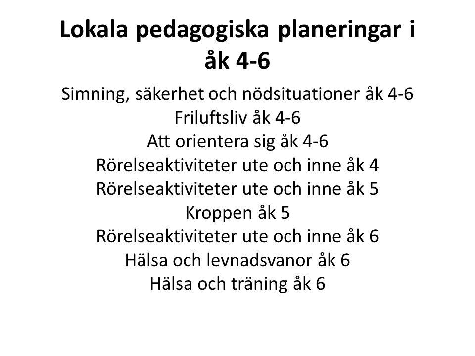 Lokala pedagogiska planeringar i åk 4-6
