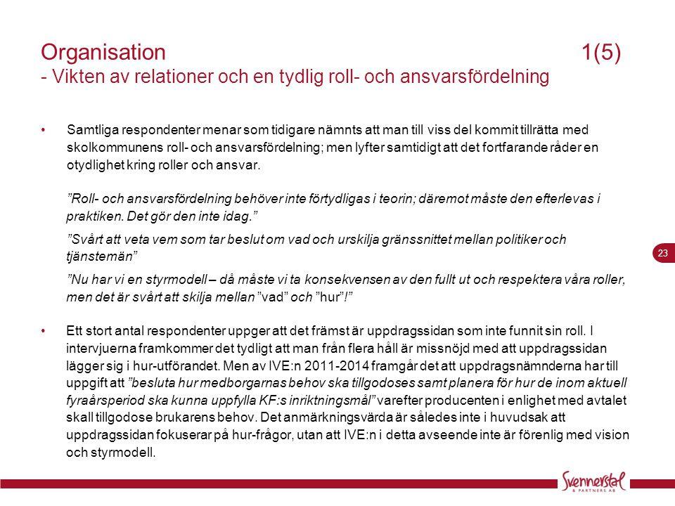 Organisation 1(5) - Vikten av relationer och en tydlig roll- och ansvarsfördelning