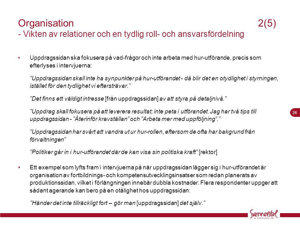 Organisation 2(5) - Vikten av relationer och en tydlig roll- och ansvarsfördelning
