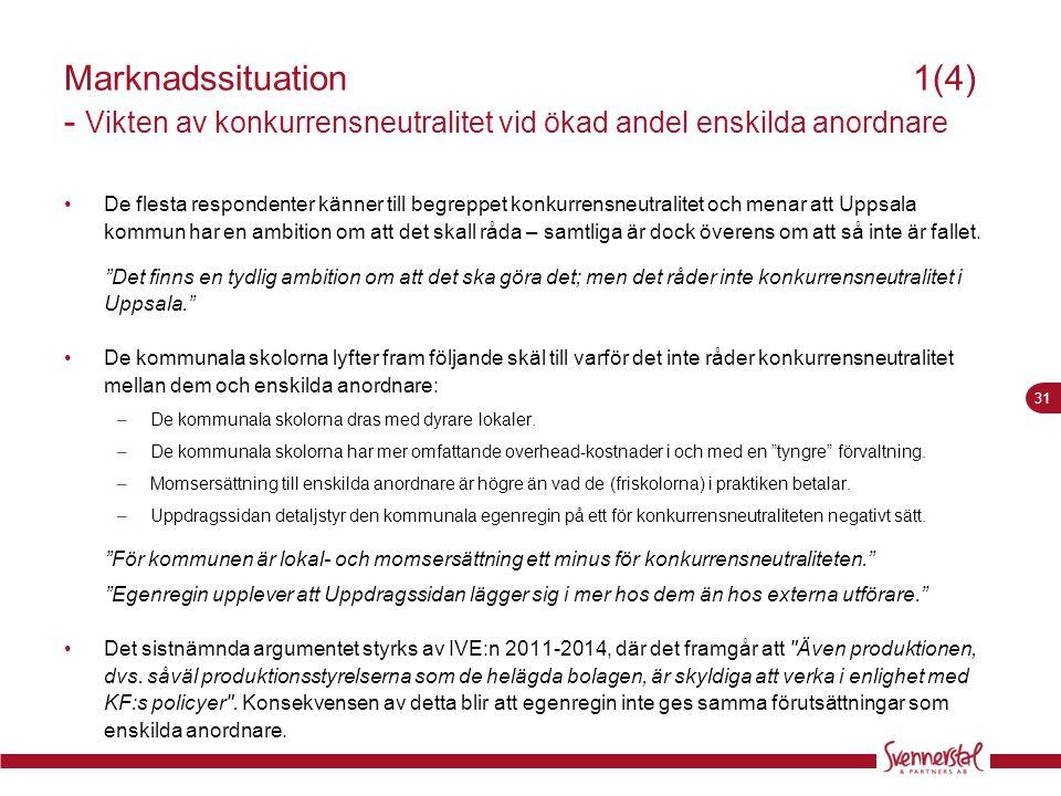 Marknadssituation 1(4) - Vikten av konkurrensneutralitet vid ökad andel enskilda anordnare