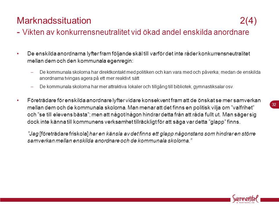 Marknadssituation 2(4) - Vikten av konkurrensneutralitet vid ökad andel enskilda anordnare