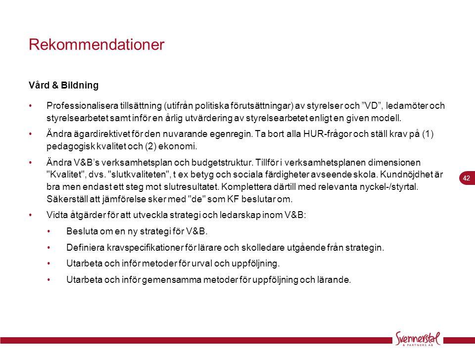 Rekommendationer Vård & Bildning