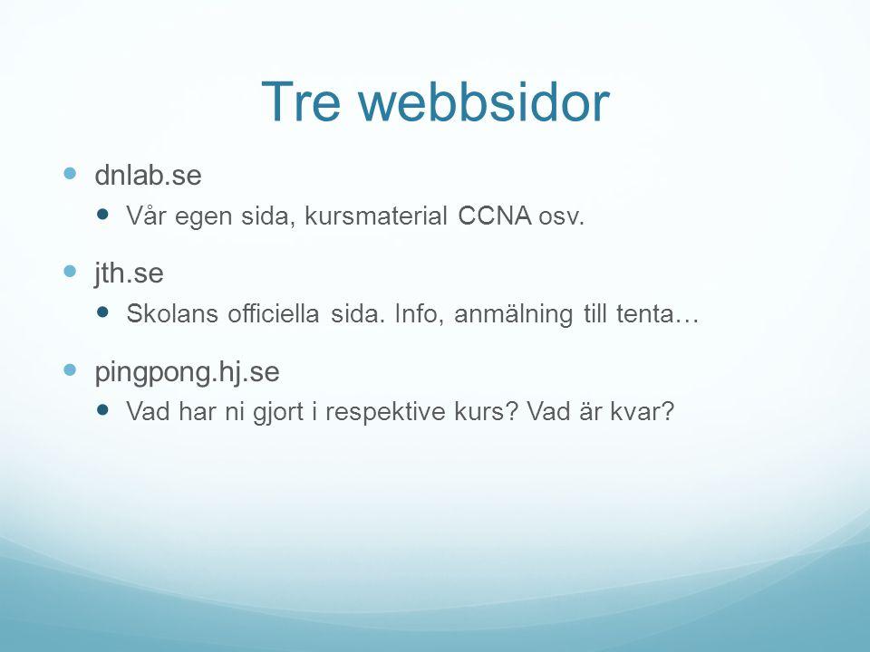 Tre webbsidor dnlab.se jth.se pingpong.hj.se