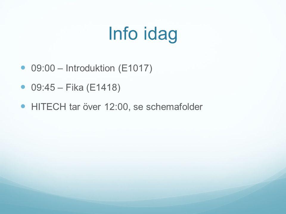 Info idag 09:00 – Introduktion (E1017) 09:45 – Fika (E1418)