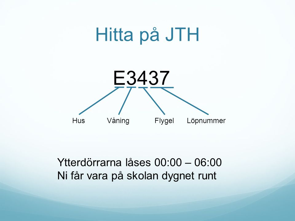E3437 Hitta på JTH Ytterdörrarna låses 00:00 – 06:00