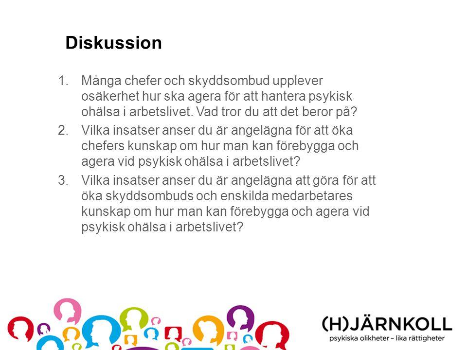 Diskussion Många chefer och skyddsombud upplever osäkerhet hur ska agera för att hantera psykisk ohälsa i arbetslivet. Vad tror du att det beror på
