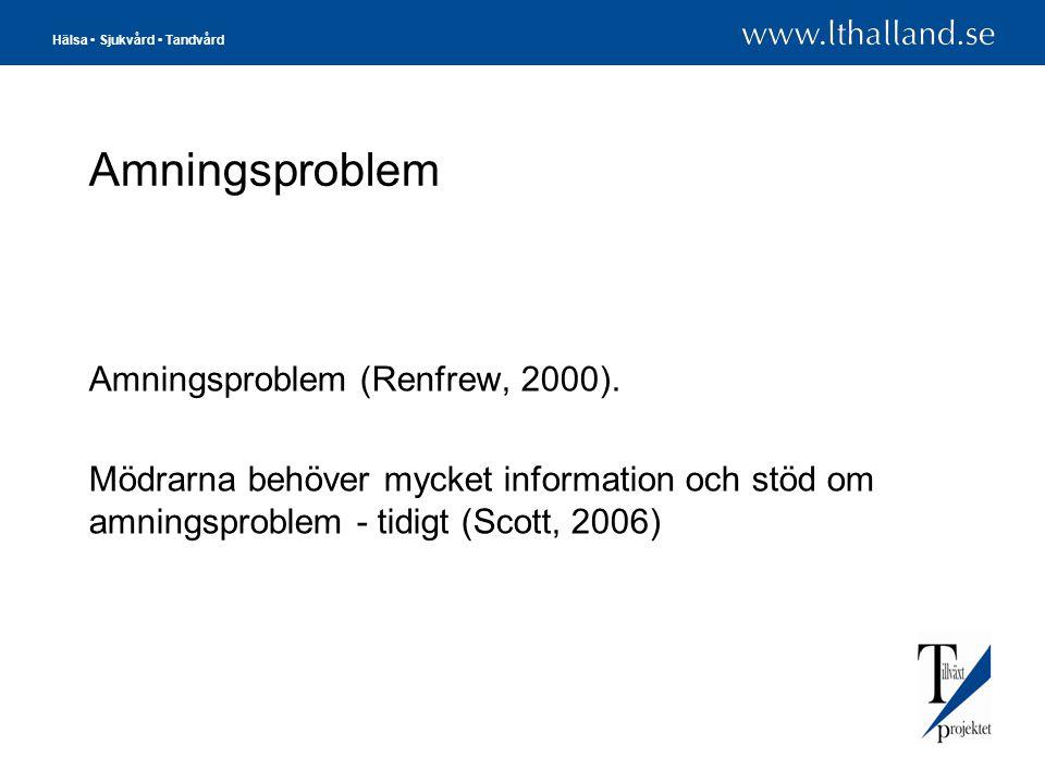 Amningsproblem Amningsproblem (Renfrew, 2000).