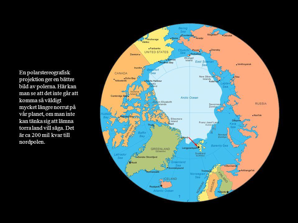 En polarstereografisk projektion ger en bättre bild av polerna