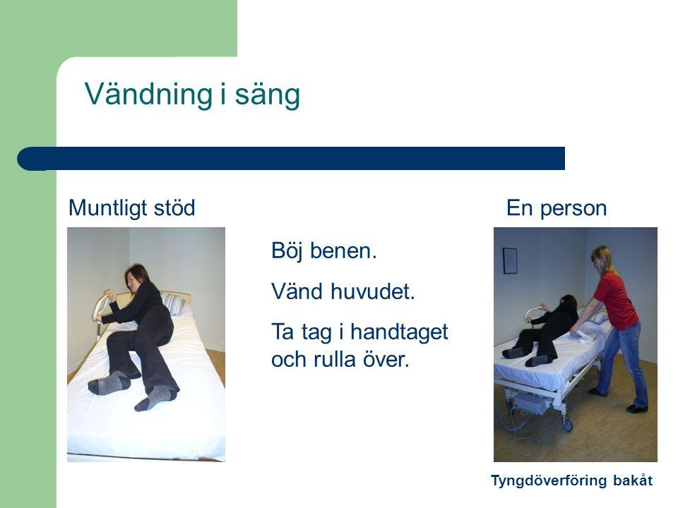 Vändning i säng Muntligt stöd En person Böj benen. Vänd huvudet.